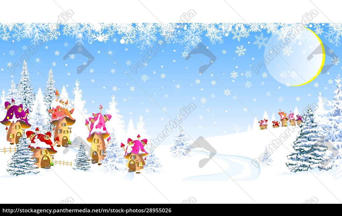 mushroom, houses, winter, forest, snow - 28955026