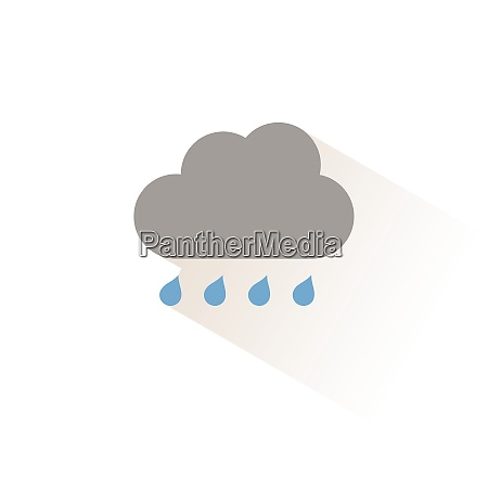 cloud and raindrops isolated color icon