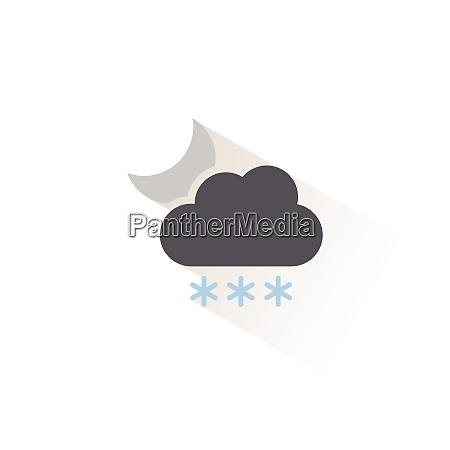heavy snow cloud and moon isolated
