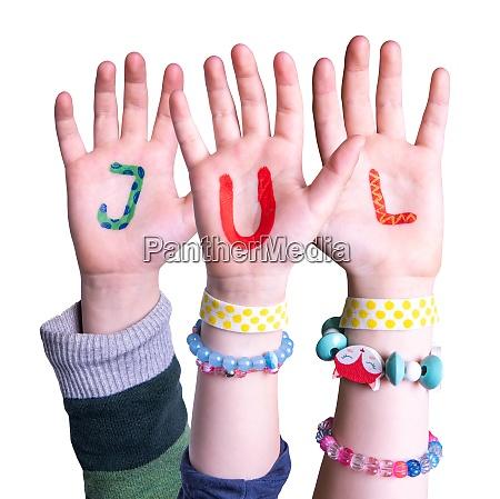 children hands building word jul means