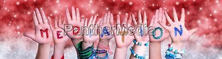 children hands building word mediation red