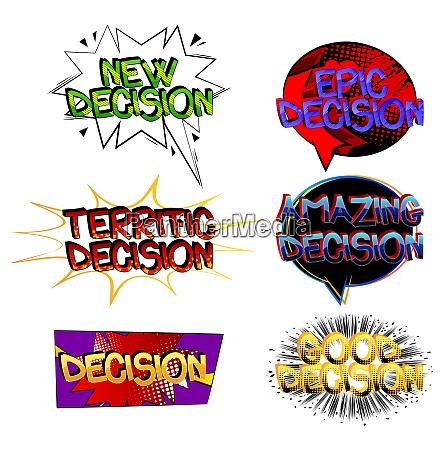 decision comic book style cartoon words