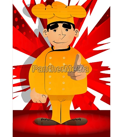 chef in uniform pointing at the