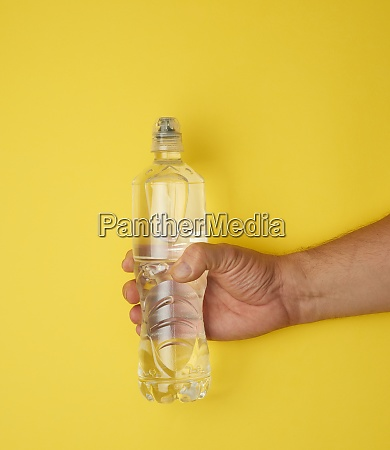 transparent plastic bottle with fresh water