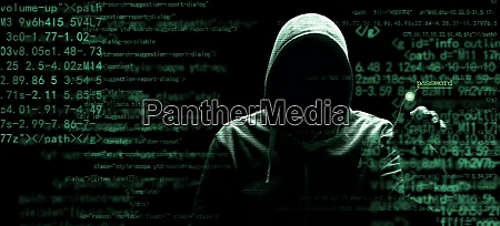 anonymous internet hacker in front of