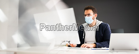 business employee wearing face mask