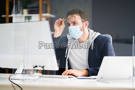 frustrated worker in office
