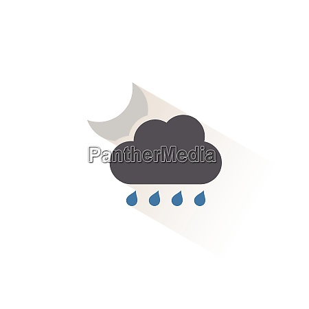 raindrops cloud and moon isolated color