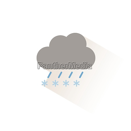 sleet and cloud isolated color icon