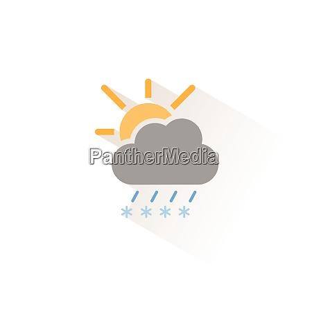 sleet cloud and sun isolated color