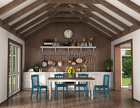 vintage kitchen with dining table in