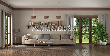 elegant sofa in a large living