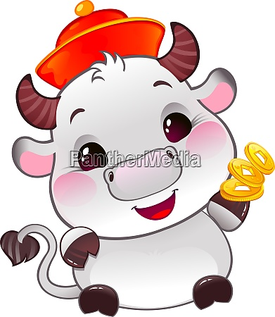 white metal ox with lucky gold