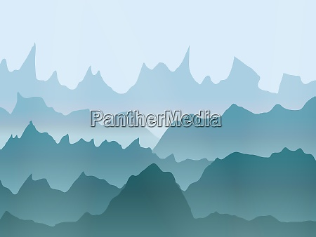 abstract watercolor misty mountains landscape