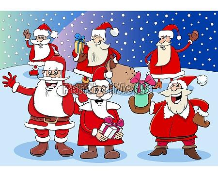 santa claus cartoon characters group on