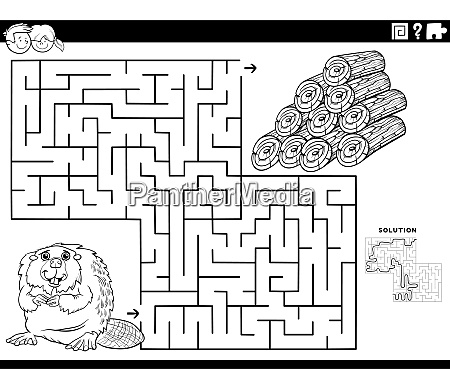 maze game with beaver and wood