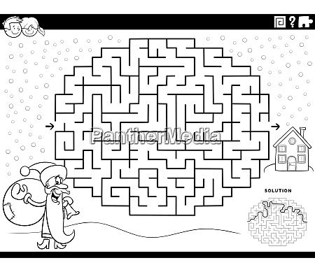 maze game with santa claus coloring