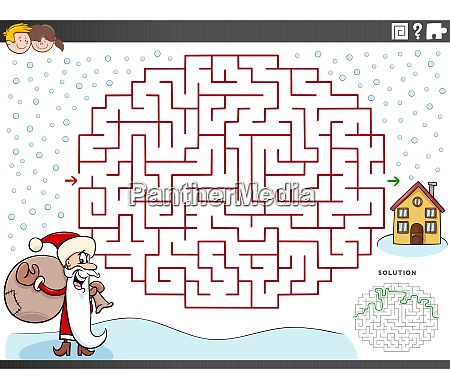 maze educational game with santa claus