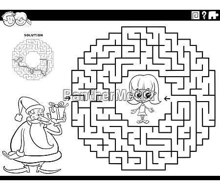 maze game with santa claus with