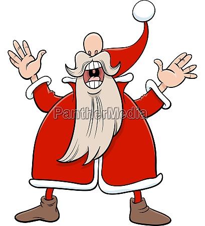 cartoon santa claus christmas character singing