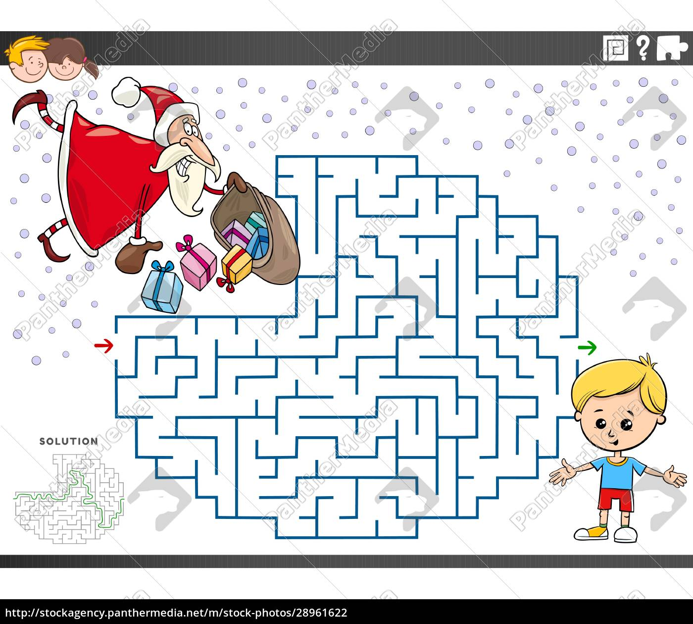 maze, educational, game, with, santa, claus - 28961622
