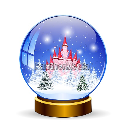 princess castle in a snow globe