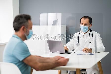 elder patient in doctor office or