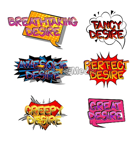 desire comic book style cartoon words