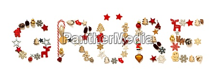 colorful christmas decoration letter building gruesse