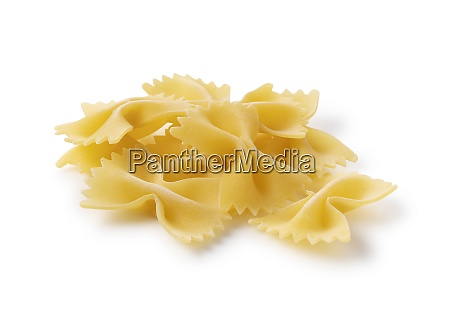 farfalle placed on a white background