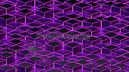 3d rendering background of isometric neon