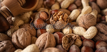 background with mixed nuts