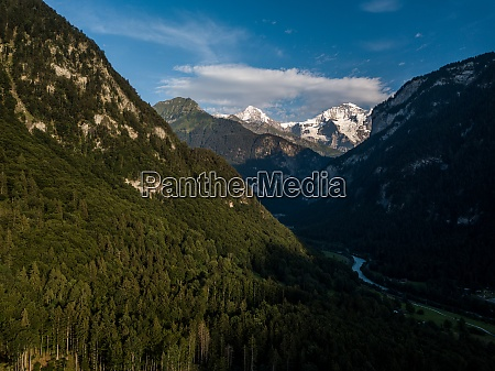 panorama of lauterbrunnen valley in the