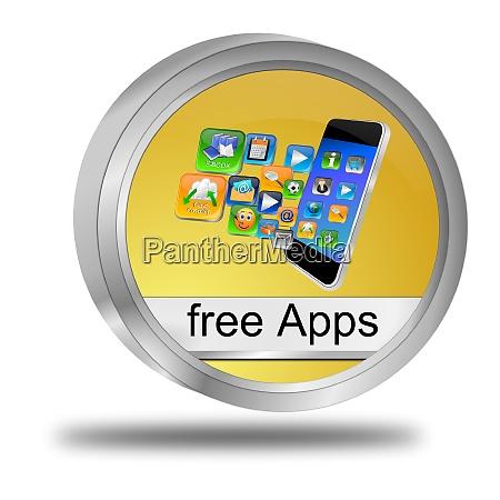 golden free apps button 3d