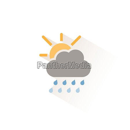 heavy raindrops cloud and sun isolated