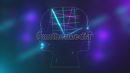 futuristic energy heads with neon grid