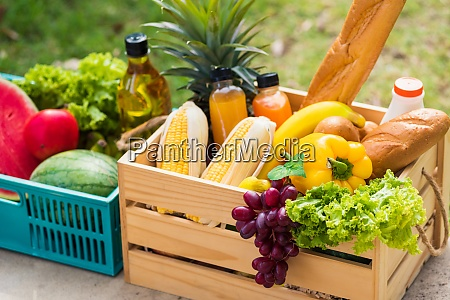 full fresh vegetables and fruits in
