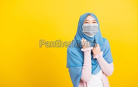 woman wear veil hijab wear protective