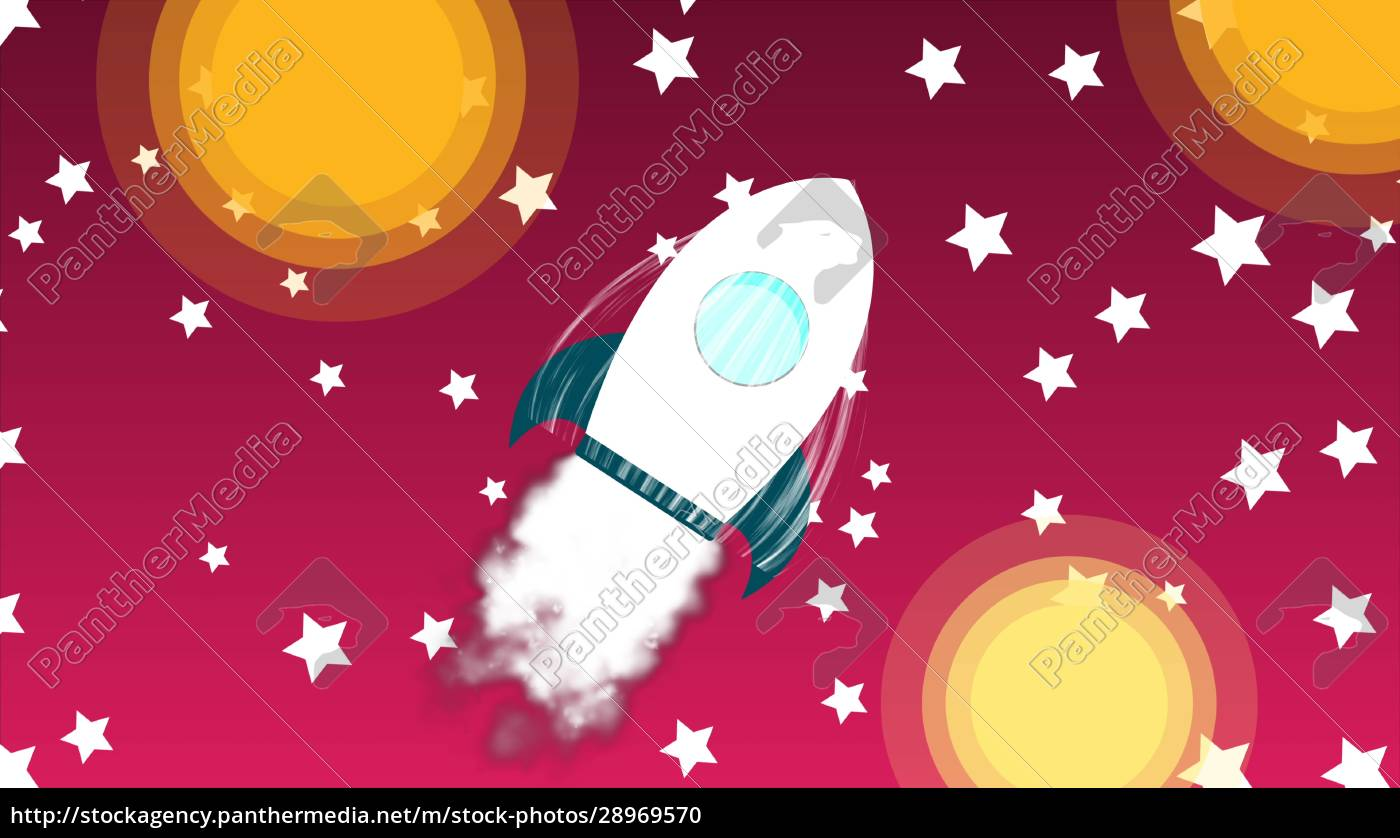 cartoon, rocket, space, ship, with, smoke - 28969570