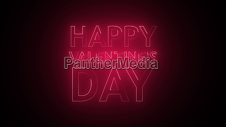 happy valentines day text in neon