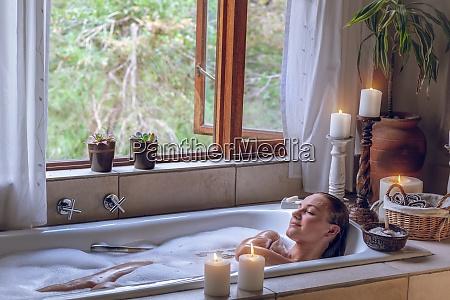 taking bath at home