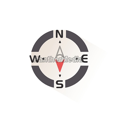 compass south direction isolated color icon