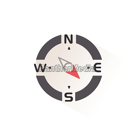 compass south east direction isolated color
