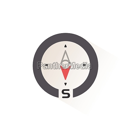south direction compass isolated color icon