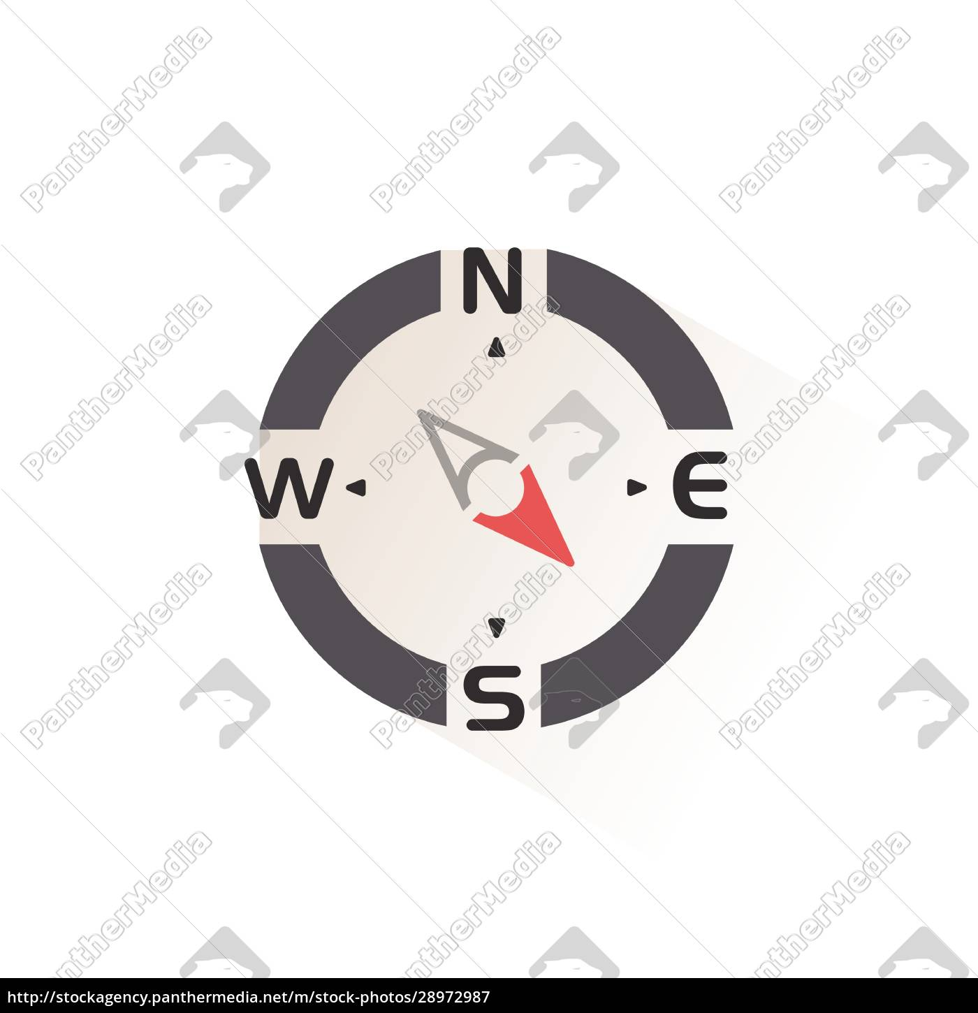 compass., south, east, direction., isolated, color - 28972987