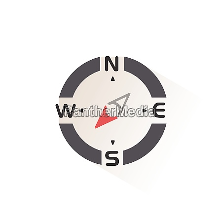 compass., south, west, direction., isolated, color - 28972988
