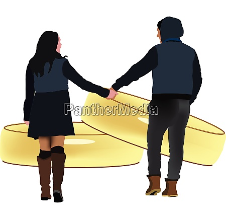 young couple united holding hands with