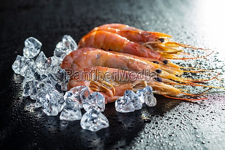 boiled tiger prawns with ice tasty