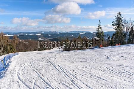 ski slope on jaworzyna krynicka mountain