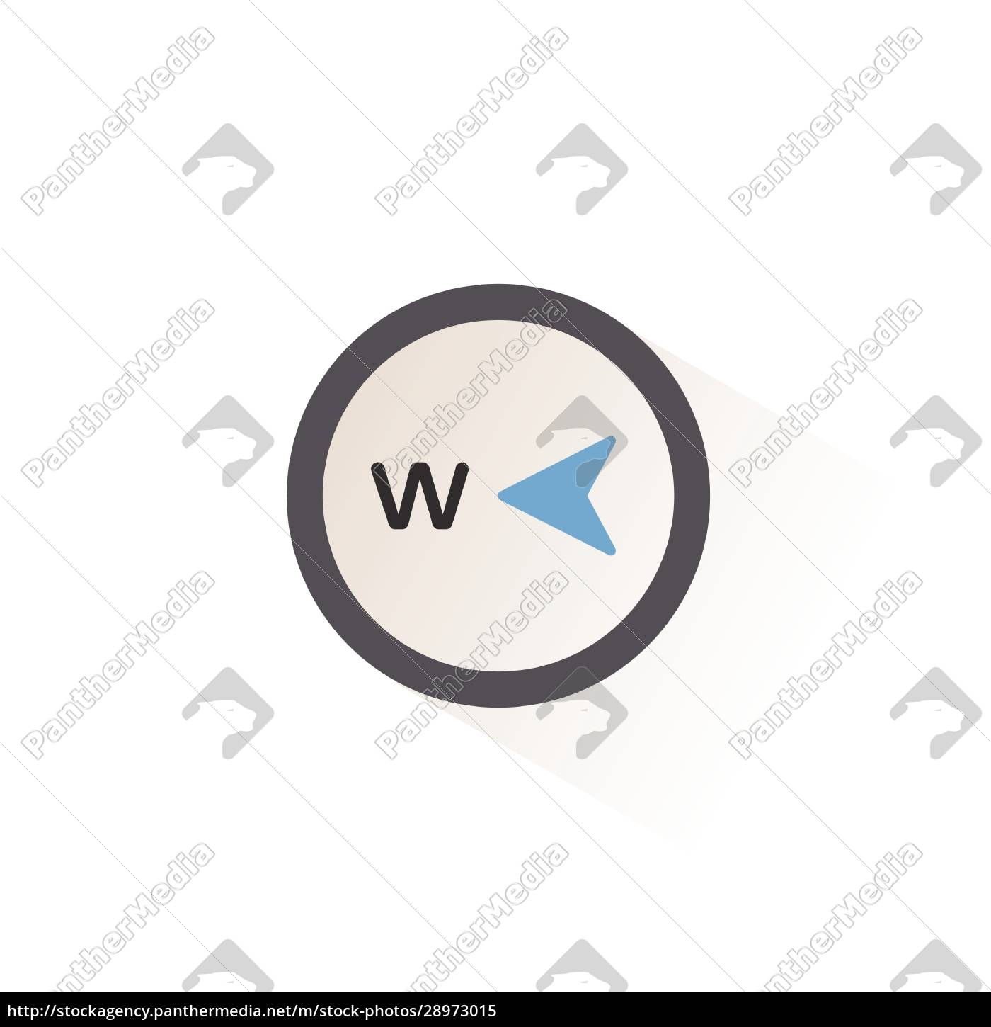 west, direction., isolated, color, icon., weather - 28973015